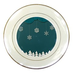 Blue Snowflakes Christmas Trees Porcelain Plates by Mariart