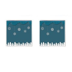 Blue Snowflakes Christmas Trees Cufflinks (square) by Mariart