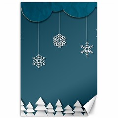 Blue Snowflakes Christmas Trees Canvas 20  X 30   by Mariart