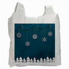 Blue Snowflakes Christmas Trees Recycle Bag (two Side)  by Mariart