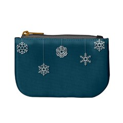 Blue Snowflakes Christmas Trees Mini Coin Purses by Mariart