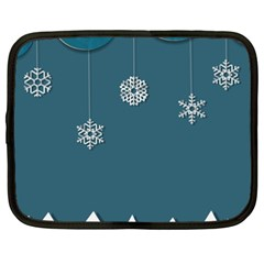 Blue Snowflakes Christmas Trees Netbook Case (xxl)  by Mariart