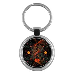 Fractal Wallpaper With Dancing Planets On Black Background Key Chains (round)  by Nexatart