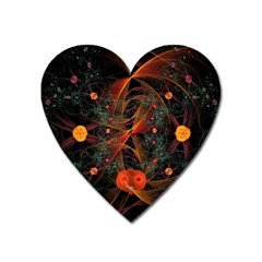 Fractal Wallpaper With Dancing Planets On Black Background Heart Magnet by Nexatart