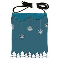 Blue Snowflakes Christmas Trees Shoulder Sling Bags by Mariart