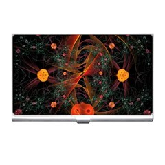 Fractal Wallpaper With Dancing Planets On Black Background Business Card Holders