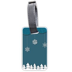 Blue Snowflakes Christmas Trees Luggage Tags (two Sides) by Mariart