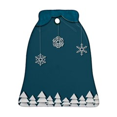 Blue Snowflakes Christmas Trees Ornament (bell) by Mariart