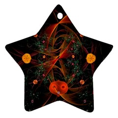 Fractal Wallpaper With Dancing Planets On Black Background Star Ornament (two Sides)