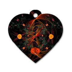 Fractal Wallpaper With Dancing Planets On Black Background Dog Tag Heart (one Side)