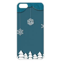 Blue Snowflakes Christmas Trees Apple Iphone 5 Seamless Case (white) by Mariart