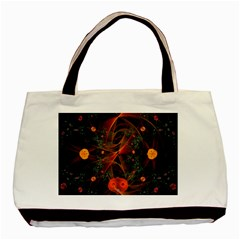Fractal Wallpaper With Dancing Planets On Black Background Basic Tote Bag (two Sides)