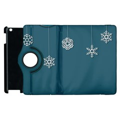 Blue Snowflakes Christmas Trees Apple Ipad 3/4 Flip 360 Case by Mariart