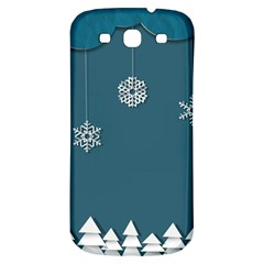 Blue Snowflakes Christmas Trees Samsung Galaxy S3 S Iii Classic Hardshell Back Case by Mariart