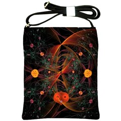 Fractal Wallpaper With Dancing Planets On Black Background Shoulder Sling Bags by Nexatart