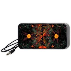Fractal Wallpaper With Dancing Planets On Black Background Portable Speaker (black) by Nexatart