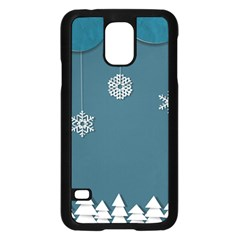 Blue Snowflakes Christmas Trees Samsung Galaxy S5 Case (black) by Mariart