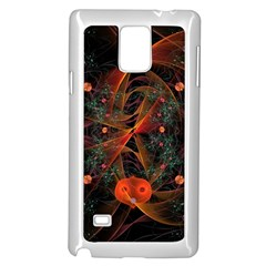 Fractal Wallpaper With Dancing Planets On Black Background Samsung Galaxy Note 4 Case (white) by Nexatart