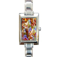 3 Carousel Ride Horses Rectangle Italian Charm Watch