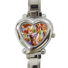 3 Carousel Ride Horses Heart Italian Charm Watch by Nexatart