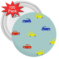 Car Yellow Blue Orange 3  Buttons (100 Pack)  by Mariart