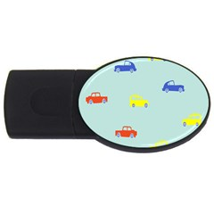 Car Yellow Blue Orange Usb Flash Drive Oval (2 Gb) by Mariart