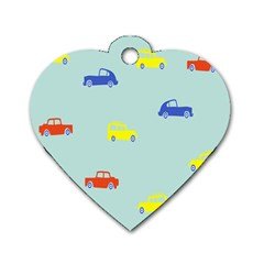Car Yellow Blue Orange Dog Tag Heart (two Sides) by Mariart