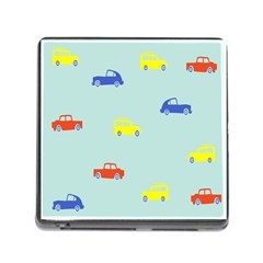 Car Yellow Blue Orange Memory Card Reader (square) by Mariart