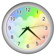 Cloud Blue Sky Rainbow Pink Yellow Green Red White Wave Wall Clocks (silver)  by Mariart