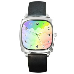Cloud Blue Sky Rainbow Pink Yellow Green Red White Wave Square Metal Watch by Mariart