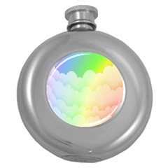 Cloud Blue Sky Rainbow Pink Yellow Green Red White Wave Round Hip Flask (5 Oz) by Mariart