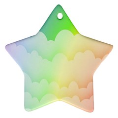 Cloud Blue Sky Rainbow Pink Yellow Green Red White Wave Star Ornament (two Sides) by Mariart