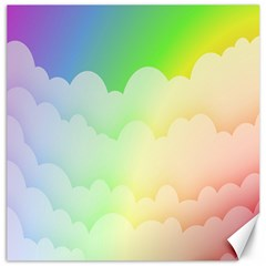Cloud Blue Sky Rainbow Pink Yellow Green Red White Wave Canvas 16  X 16   by Mariart