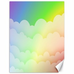 Cloud Blue Sky Rainbow Pink Yellow Green Red White Wave Canvas 18  X 24   by Mariart