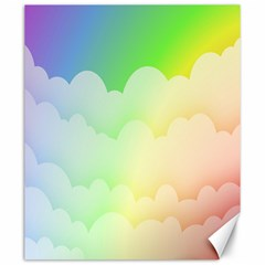 Cloud Blue Sky Rainbow Pink Yellow Green Red White Wave Canvas 20  X 24   by Mariart