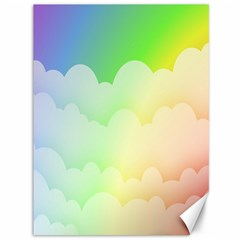Cloud Blue Sky Rainbow Pink Yellow Green Red White Wave Canvas 36  X 48   by Mariart