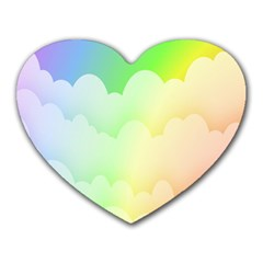 Cloud Blue Sky Rainbow Pink Yellow Green Red White Wave Heart Mousepads by Mariart