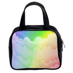 Cloud Blue Sky Rainbow Pink Yellow Green Red White Wave Classic Handbags (2 Sides) by Mariart