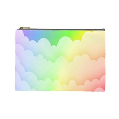 Cloud Blue Sky Rainbow Pink Yellow Green Red White Wave Cosmetic Bag (large)  by Mariart