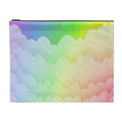 Cloud Blue Sky Rainbow Pink Yellow Green Red White Wave Cosmetic Bag (xl) by Mariart