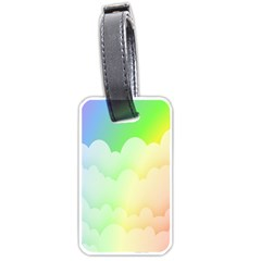 Cloud Blue Sky Rainbow Pink Yellow Green Red White Wave Luggage Tags (two Sides) by Mariart