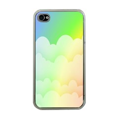 Cloud Blue Sky Rainbow Pink Yellow Green Red White Wave Apple Iphone 4 Case (clear) by Mariart