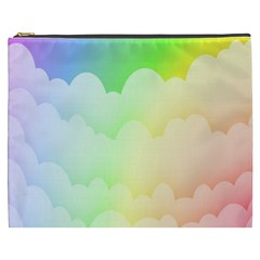 Cloud Blue Sky Rainbow Pink Yellow Green Red White Wave Cosmetic Bag (xxxl)  by Mariart