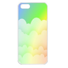 Cloud Blue Sky Rainbow Pink Yellow Green Red White Wave Apple Iphone 5 Seamless Case (white) by Mariart