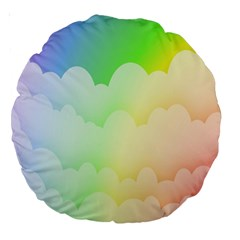 Cloud Blue Sky Rainbow Pink Yellow Green Red White Wave Large 18  Premium Round Cushions by Mariart