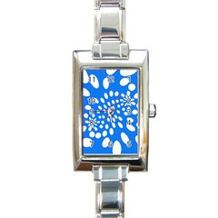 Circles Polka Dot Blue White Rectangle Italian Charm Watch by Mariart