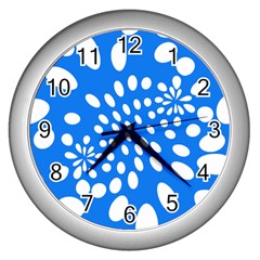Circles Polka Dot Blue White Wall Clocks (silver)  by Mariart
