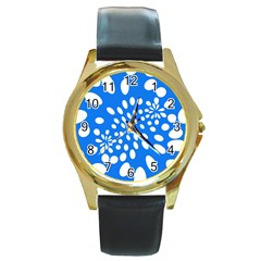 Circles Polka Dot Blue White Round Gold Metal Watch by Mariart