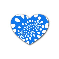 Circles Polka Dot Blue White Rubber Coaster (heart)  by Mariart