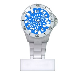 Circles Polka Dot Blue White Plastic Nurses Watch by Mariart